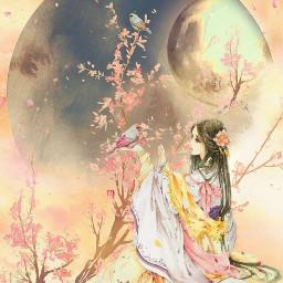 soulmagiceffect freetoedit oriental moonart flower
