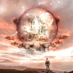 ontopoftheworldremix freetoedit fantasy surreal moonart