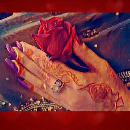 freetoedit redrose hand nail potrait...