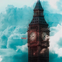 clocktower clouds bluevibes sky towers