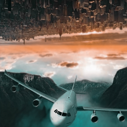 tealorange airplanes surreal mountains clouds