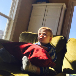baby afternoon sunlight watchingtv couch freetoedit