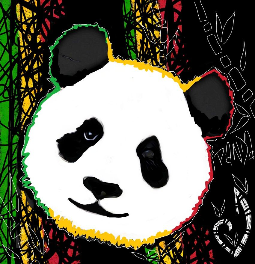 Pandas Drawing Dessin Rastapanda Vertjaunerouge Panda