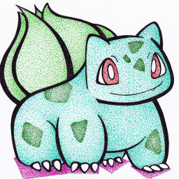 bulbasaur pokemon art pointillism