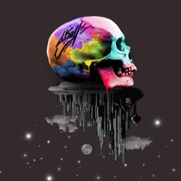 freetoedit skullface backgroundimage earth colorful
