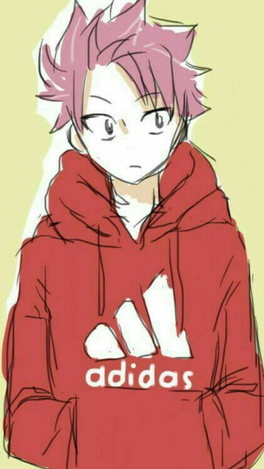Cute Anime Boy Drawing Images: Natsu Natsudragneel Fairytail Adidas Red Anime Boy Cute