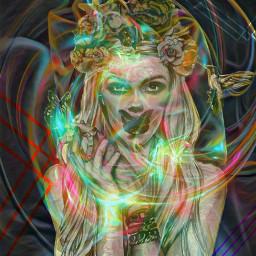 magic fantasy colors neons girl freetoedit