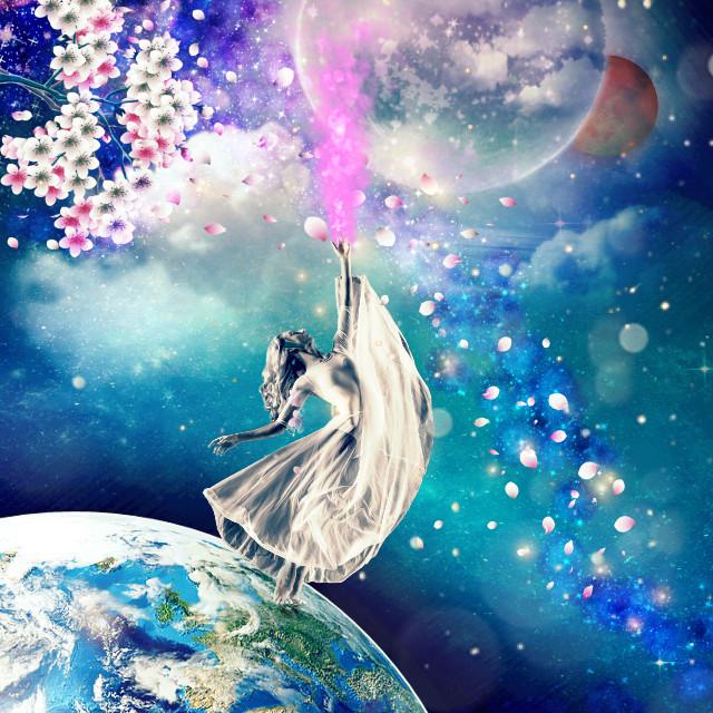 #freetoedit #moon #erath #stars #smoke #pink #women #night