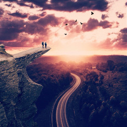 madewithpicsart edited skyscape sunset cliff