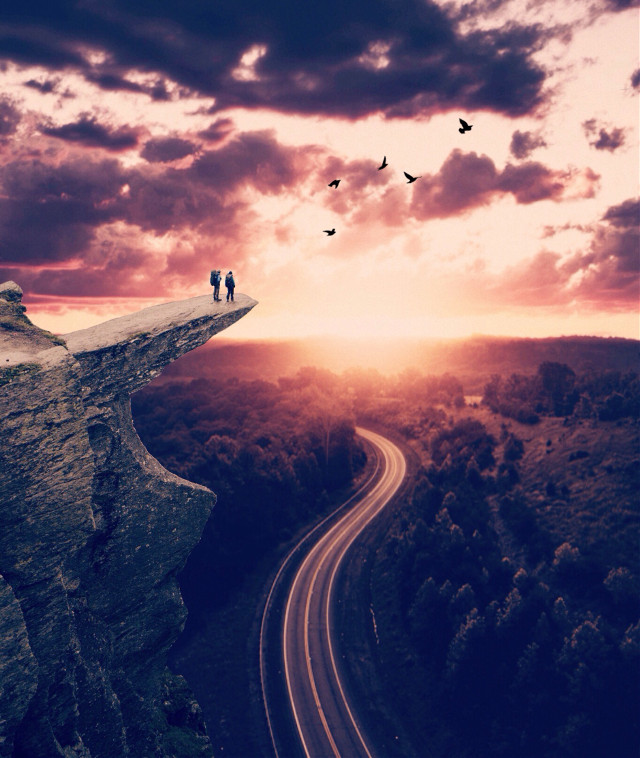 #madewithpicsart #edited #skyscape #sunset #cliff