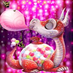 freetoedit mirroreffect dragon bubblegum bees