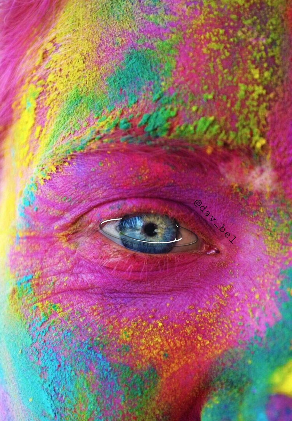 #freetoedit #holi #holirun #dust #powder #color #colors #rainbow #boy #eye #saturn #saturneye #eyes #blueeye #face #makeup #interesting #party #people #summer