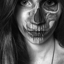 freetoedit girl faces skull blackandwhite