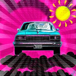 remix car sky clouds sun freetoedit