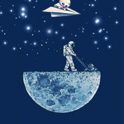 freetoedit moon astonaut white bag traivling aeroplane papermade bunny cuty stars nightveiw minimalism remixit