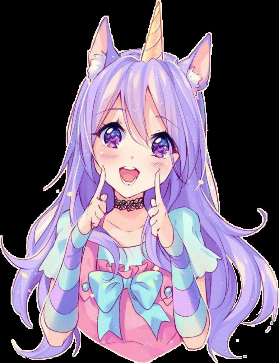 Anime Unicornio Kawaii Purple Tierno Colorful Pink Cute
