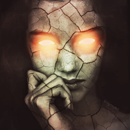 darkart woman cracked glowingeyes interesting freetoedit