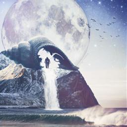 surreal moon shell couple waterfall freetoedit