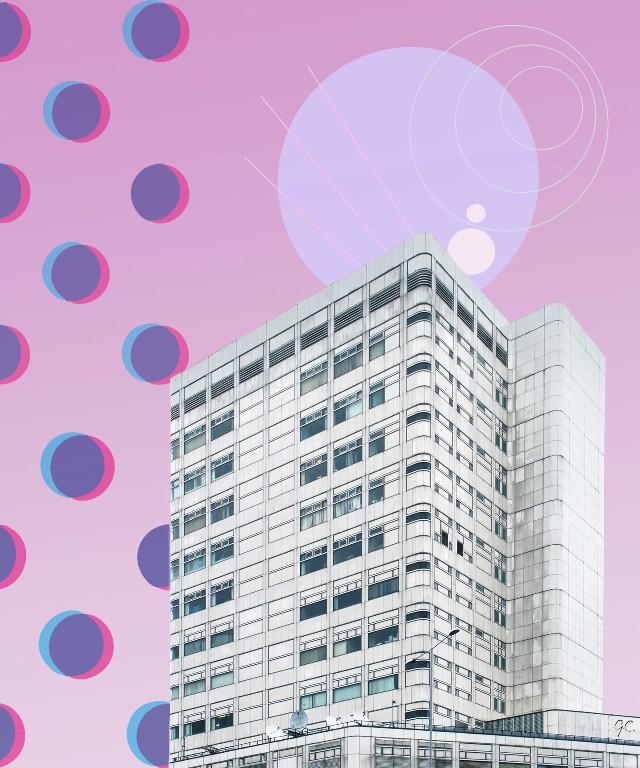Pink skyes🌥 #pink #edit #circles #city #girlcreates #interesting #art #sky #building #retro #remix