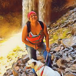 waterfall hike doglover pitbull hikingbuddy