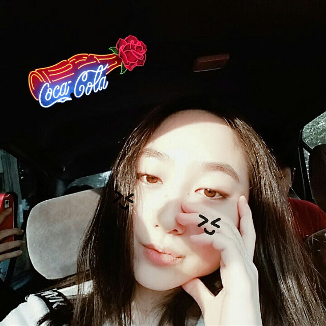 COCA COLA × ROSE   #freetoedit #cocacola #ad #rose #collab #editbyme #selfie #car #ride #onthego #goldenhour #sunlight #face #girl #asiangirl #natural #makeup #love #everyday #happy #smile