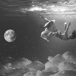 freetoedit girl falling girlfalling ocean
