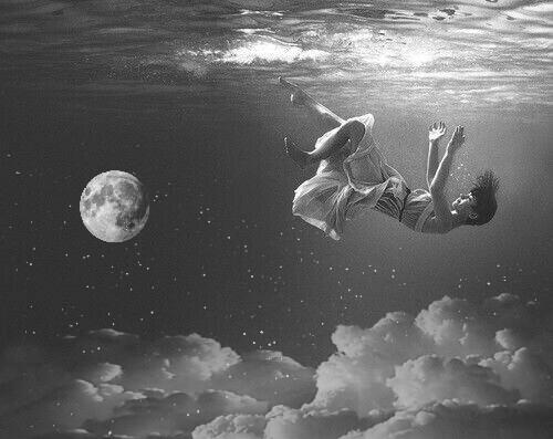 #girl #falling #girlfalling #ocean #sky