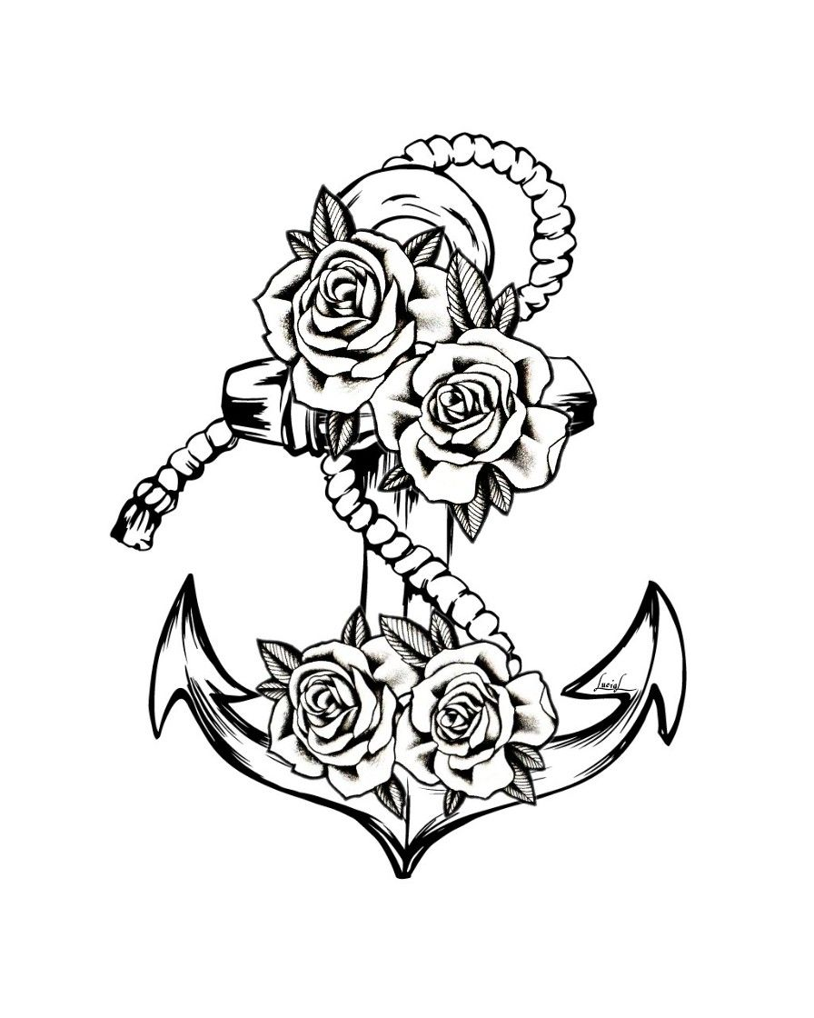 Anchor Roses Tattoo Image By Lucia Gloria Zivago