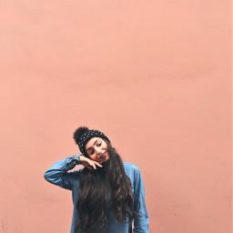 pink background wall denim girl freetoedit