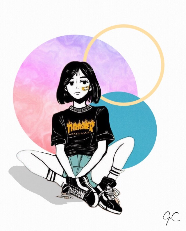 Not your girl🌻 (Not my drawing) #girl #tomboygirl #shorthair #dontcare #edit #composition #girlcreates #colors #shadow #art #love #like