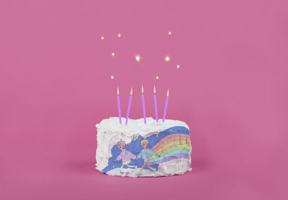 Here's a happy magical unicorn cake! #cake #rainbow #remix #freetoedit