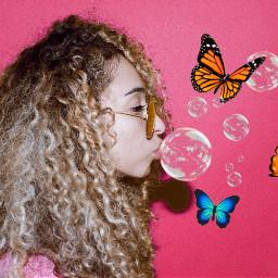 freetoedit surreal butterflies bubbles girl