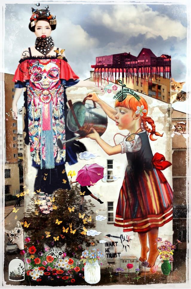 #freetoedit #geisha#streetart#mixemediaart#cute#tippy#surreal