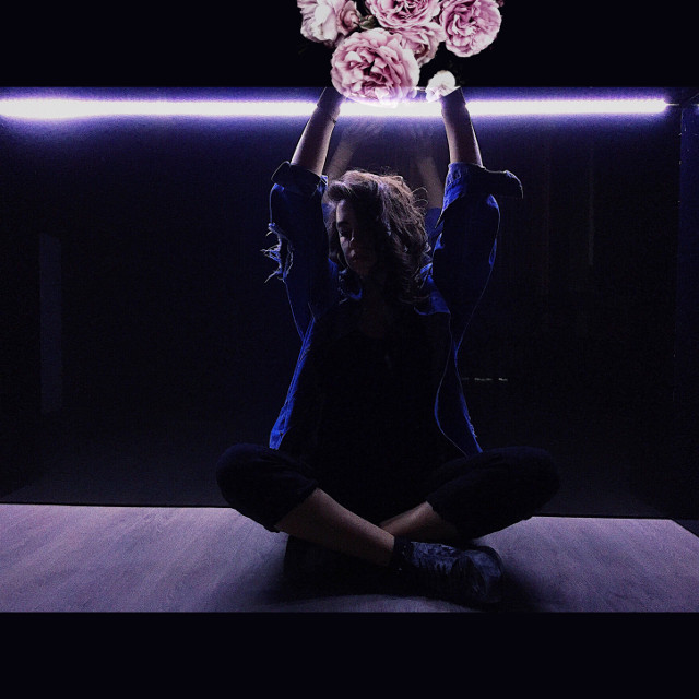 #freetoedit #girl #neon #blue #purple #black #roses #lights #led