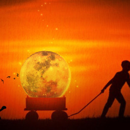 myedit madewithpicsart silhouettes moon wagon