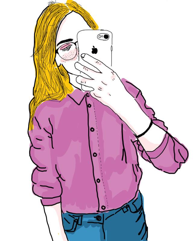 #outline #pink #blondegirl #new #iphone