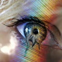 freetoedit rainbow rainbowlight eyes ojosbonitos