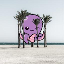 octopus trees palmtrees cartoon cute freetoedit