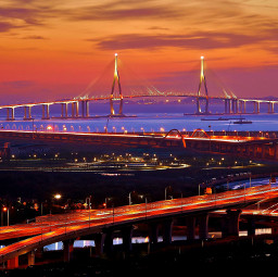 bridge sea city southkorea lights