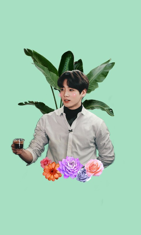 #freetoedit #jungkook #green #plant #flowers #cute #mintgreen #plants
