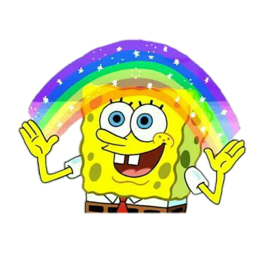 spongebob imagination rainbow meme tumblr overlay...
