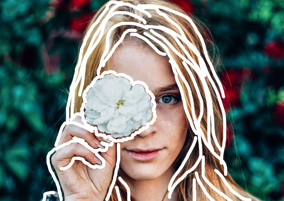 #freetoedit #outlineart #outline #floweroutline #girl