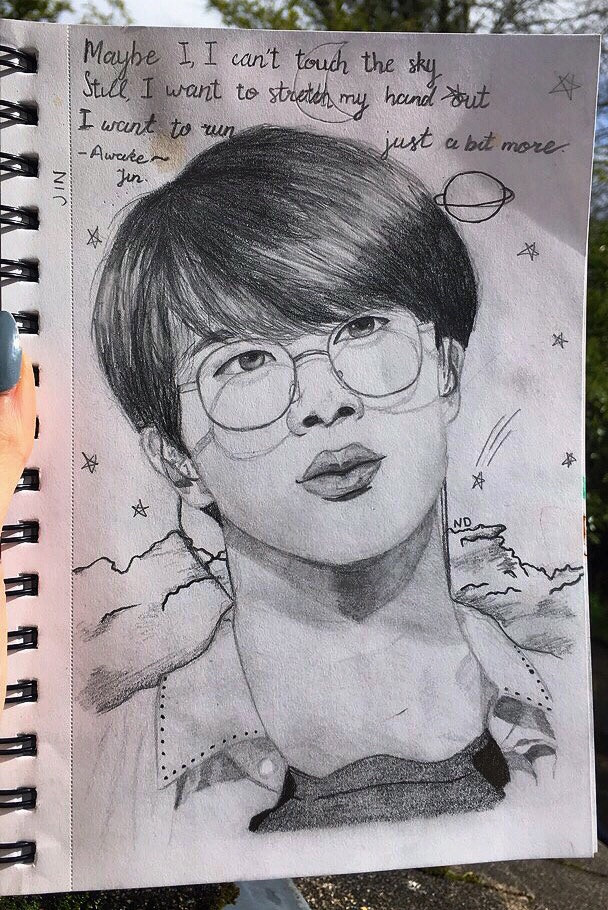 'Maybe I, I cant touch the sky, Still I want to stretch my hand out And to run just a bit more.'                     ~Awake - Jin, Wings solo song  Jin pencil drawing i did yesterday ft a small tea stain by the lyrics. The weather was decent for once so i could get a good picture of it :)  Im really happy with this and i think that even looking from my earlier drawings that ive improved somewhat... :/  - ☁️requests are open!☁️ -   #jin #seokjin #kimseokjin #jinbts #btsjin #seokjinbts #btsseokjin #kimseokjinbts #btskimseokjin #jinnie #bts #army #btsarmy #drawing #pencil #drawingbts