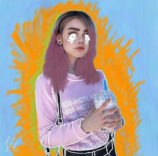 #hungary #outline #outlineart #pinkhair #oreoshake #blackandpink #pinkandblack #blue #yellow #green #probalkoztam #teamfuzesgyarmat #amazing  #mymodelisMeghann #nokillmepls #animegirl