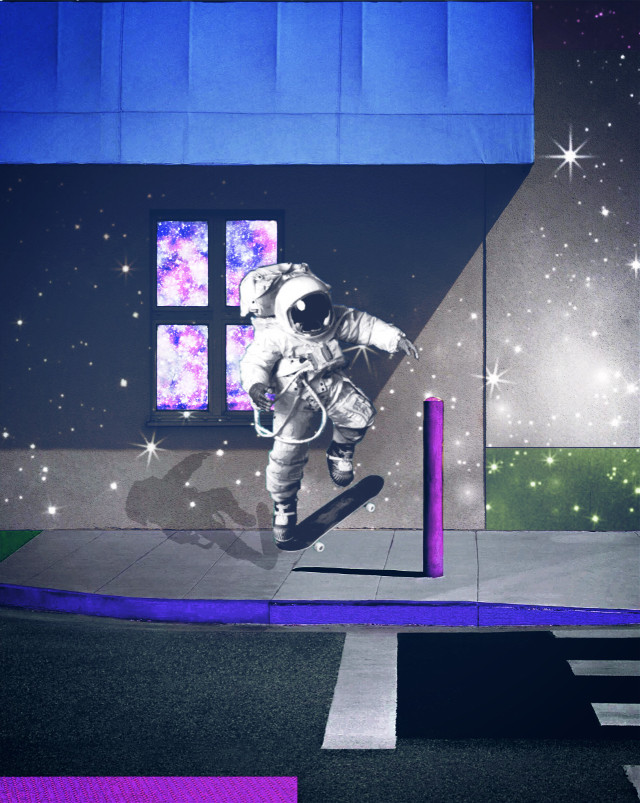 Since i still can't use stickers I'll try to make good edits without them hope it's gonna be fixed soon #freetoedit #galaxy #astronaut #skateboarding #streetstyle #urban #ircgeorgebyrneurbanabstract