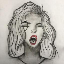 blackandwhite girldrawing picsart