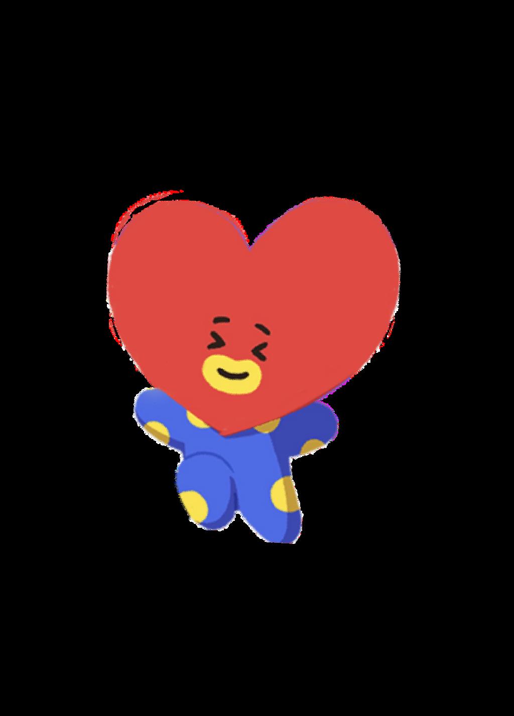 tata heart bt21 bts alien cute v happy love blue red...