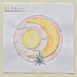 moon moonart watercolor art flower