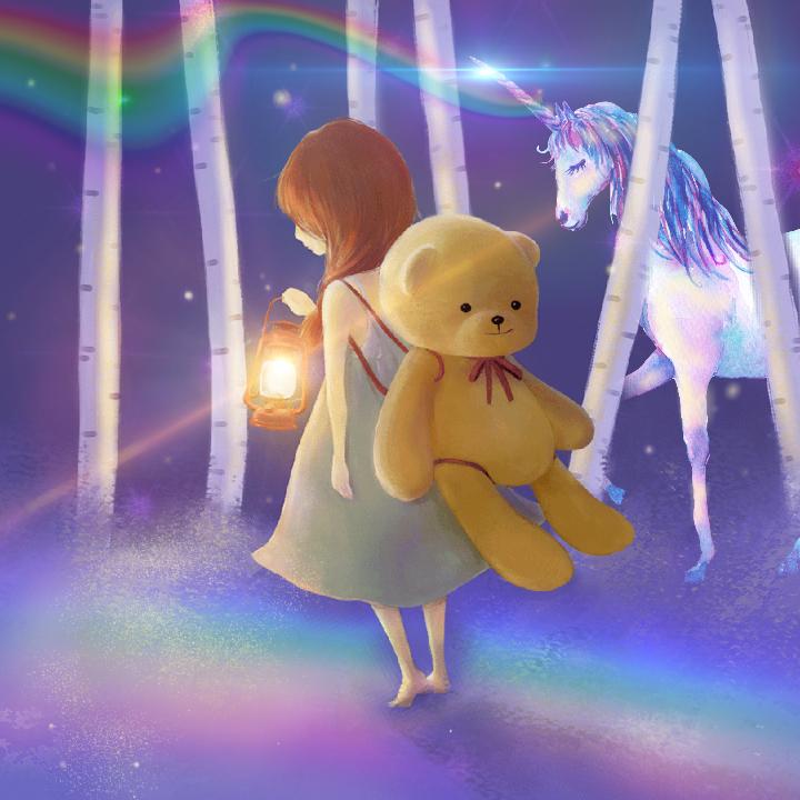 Freetoedit unicorn alone love girl teddybear picsart lovely