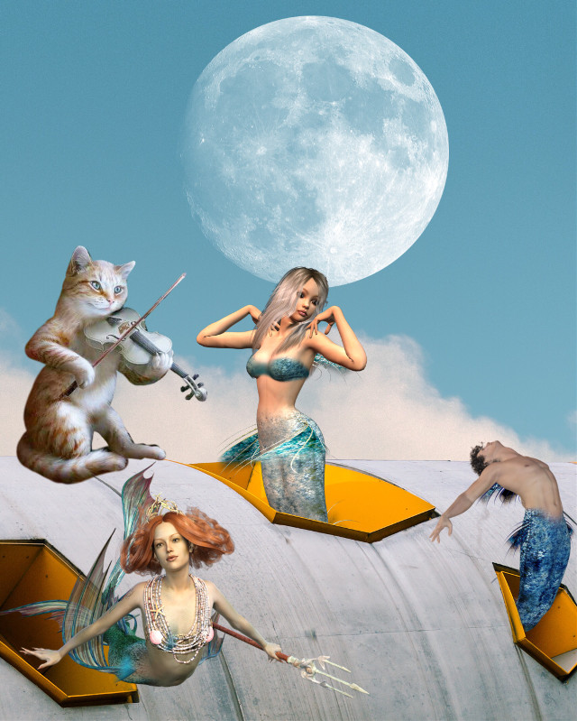 #freetoedit #mermaids #romantic #moon